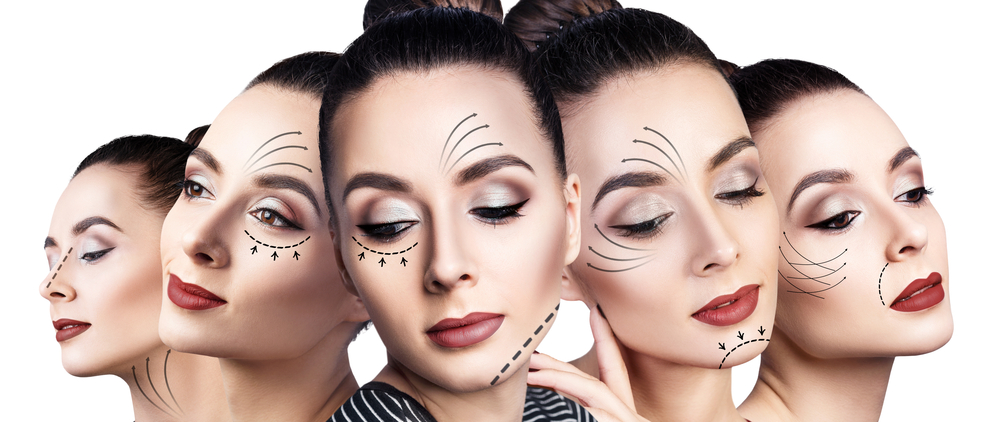 multiple faces of woman with different angles showing facelift contour lines